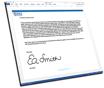 Topaz Electronic Signature Pad Software